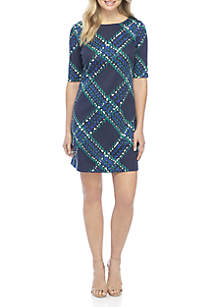 Diagonal Grid Dress