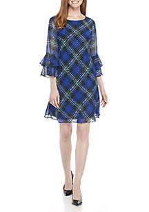 Three-Quarter Sleeve Diagonal Plaid Dress