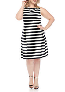 Plus Size Sleeveless Stripe Fit and Flare Dress