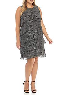 Plus Size Sleeveless Tiered Chiffon Dot Dress
