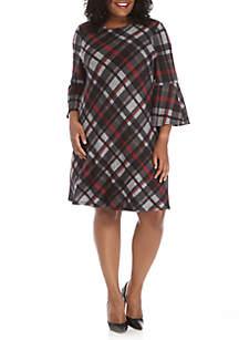 Plaid Bell Sleeve Dress
