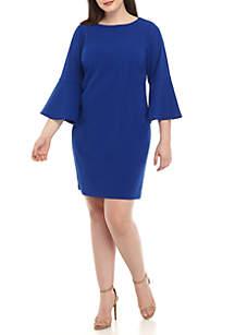 Plus Size Long Bell Sleeve Shift Dress