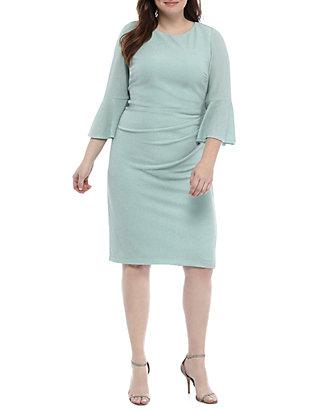 Plus Size Bell Sleeve Ruch Waist Glitter Dress