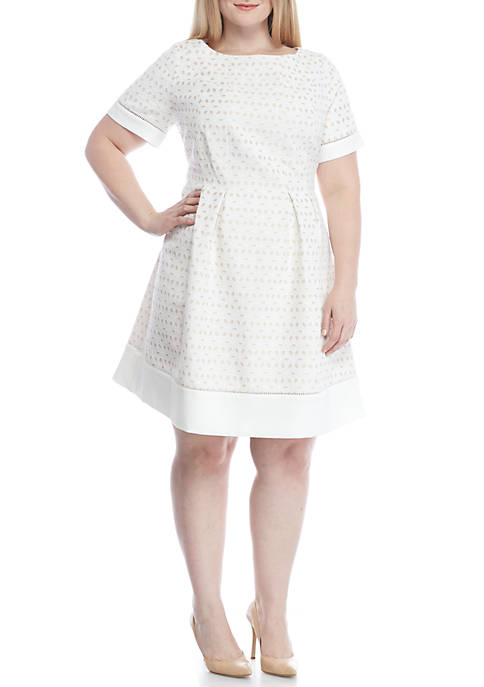 Jessica Howard Plus Size Short Sleeve Eyelet Fit And Flare Dress Belk