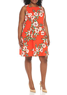 Plus Size Sleeveless Tropical Print Fit-and-Flare Dress