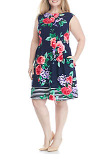 Plus Size Sleeveless Floral Fit-and-Flare Dress