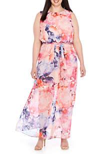 Plus Size Maxi Non Pleat Halter Neck Dress