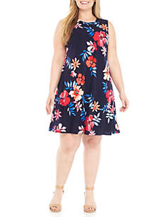 Plus Size Print A-Line Dress