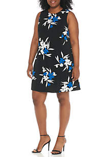 Plus Size Sleeveless Print A-Line Shift Roy Dress