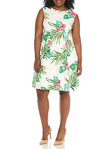 Plus Size Sleeveless Tropical Print A-Line Dress
