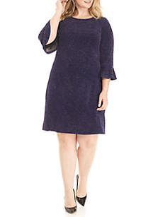 Plus Size Glittery Bell Sleeve Dress