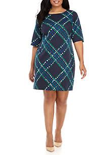 Plus Size Diagonal Grid Sheath Dress