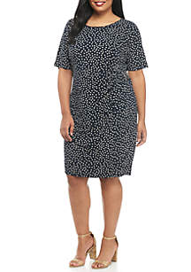 Plus Size Side Ruch Dress With Buckle