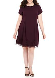 Plus Size Lace Hem Dress