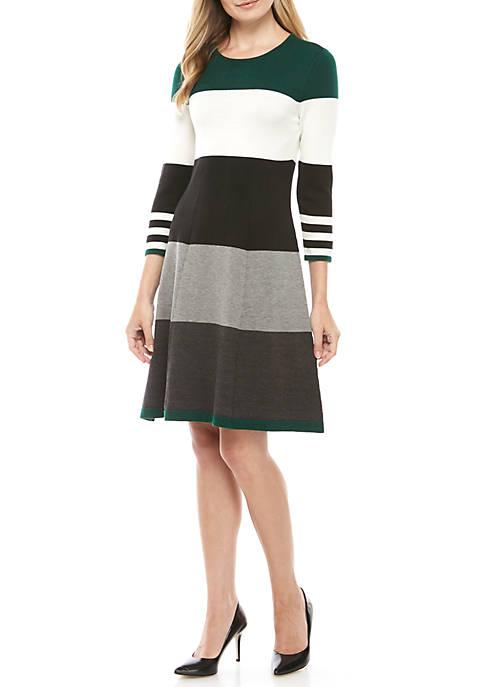 Womens Wide Stripe Sweater Dress