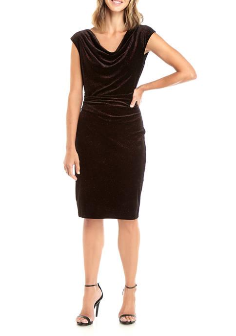 Jessica Howard Womens Metallic Velvet Drape Neck Dress