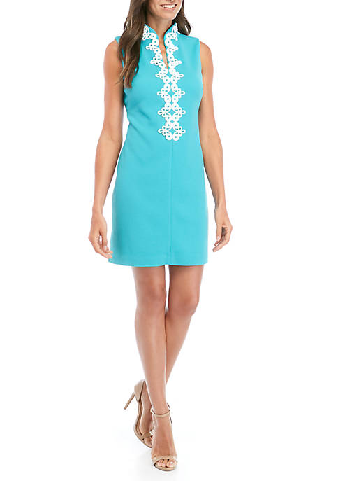 Jessica Howard Sleeveless Embroidered Neck Dress