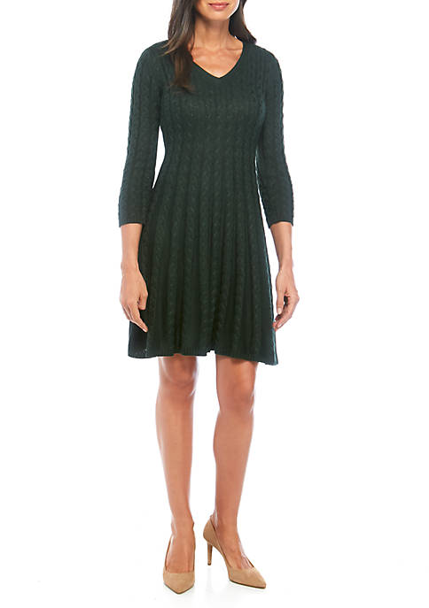 Jessica Howard Cable Knit V Neck Sweater Dress