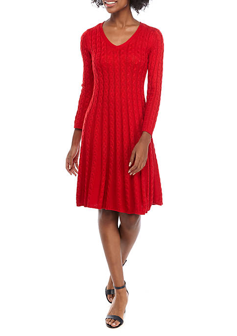 Jessica Howard Womens Cable Knit V Neck Sweater