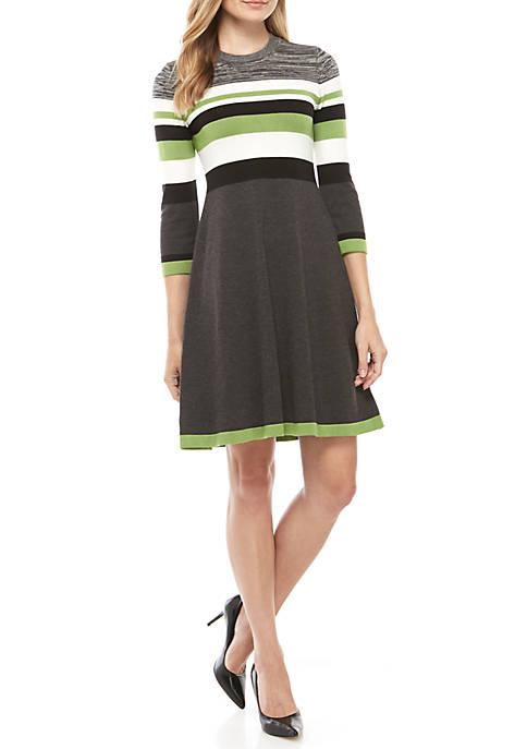 Jessica Howard Heathered Chest Stripe Sweater Dress