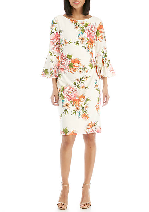 Bell Sleeve Side Ruched Print Dress