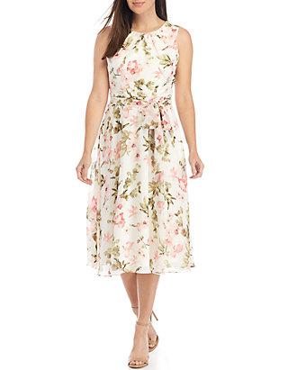 64db76beb4ad Jessica Howard. Jessica Howard Sleeveless Belted Chiffon Dress