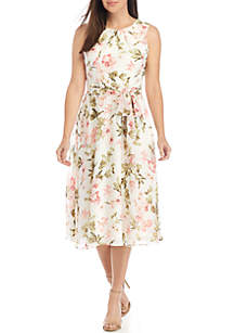 Jessica Howard Sleeveless Belted Chiffon Dress