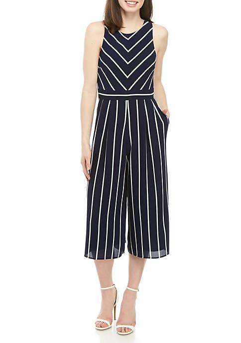 Jessica Howard Sleeveless Striped Jumpsuit