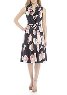 7fb1e0c18e4c ... Jessica Howard Sleeveless Tie Waist Fit and Flare Ruffle Dress