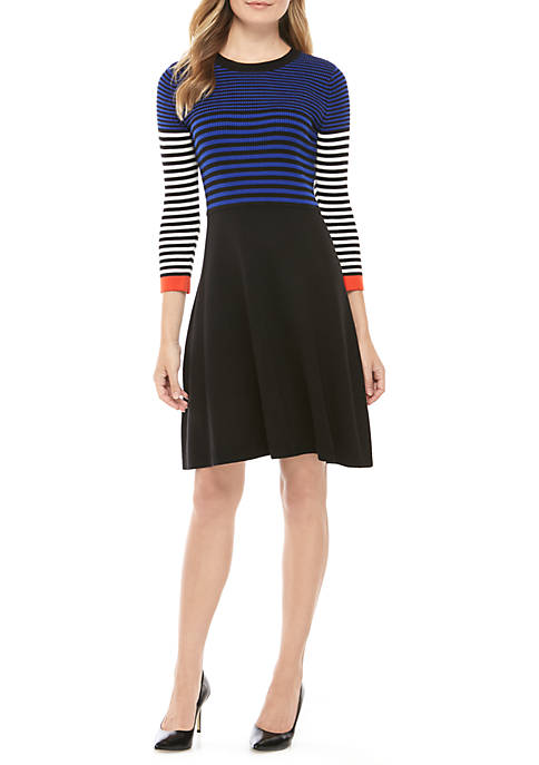 Jessica Howard Womens Tri Color Small Stripe Sweater