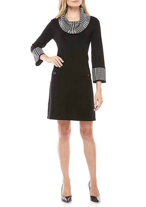 Houndstooth Cowl Neck Sweater Dress