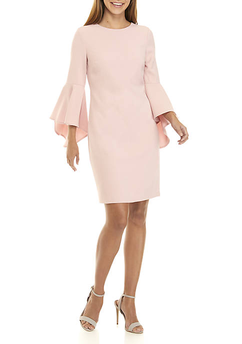 Long Sleeve Solid Exaggerated Bell Sleeve Dress