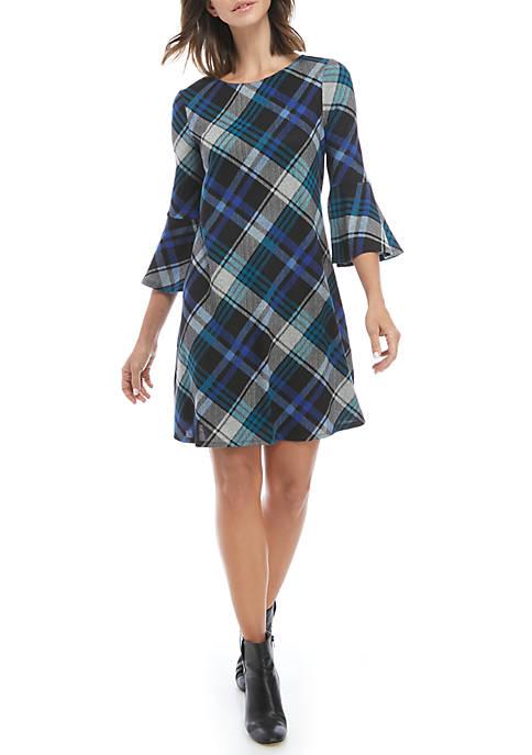 Womens Plaid Bell Sleeve Woven Dress