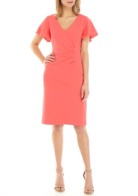 Jessica Howard Short Flutter Sleeve Side Ruched Dress