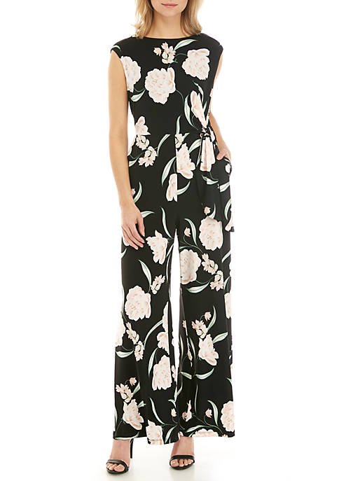 Jessica Howard Cap Sleeve Floral Jumpsuit