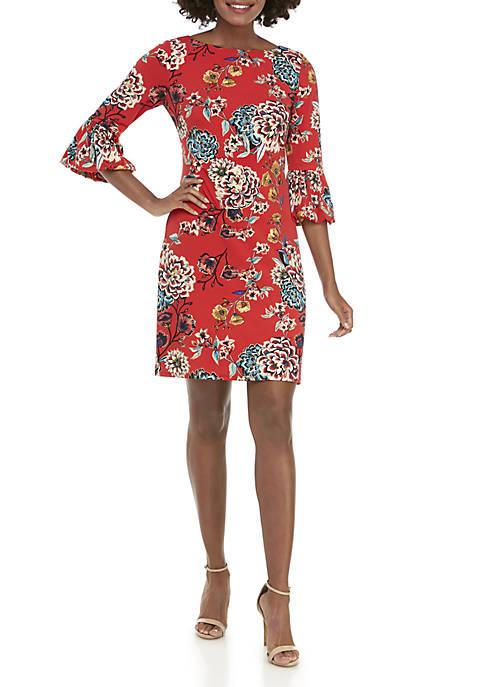 J Howard Long Bell Sleeve Floral Shift Dress