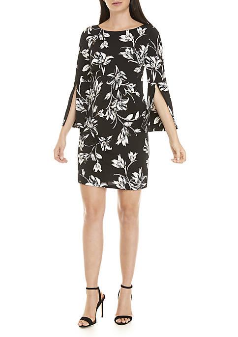 Bell Sleeve Foil Floral Dress