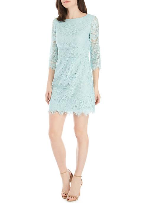 3/4 Sleeve Lace Shift Dress