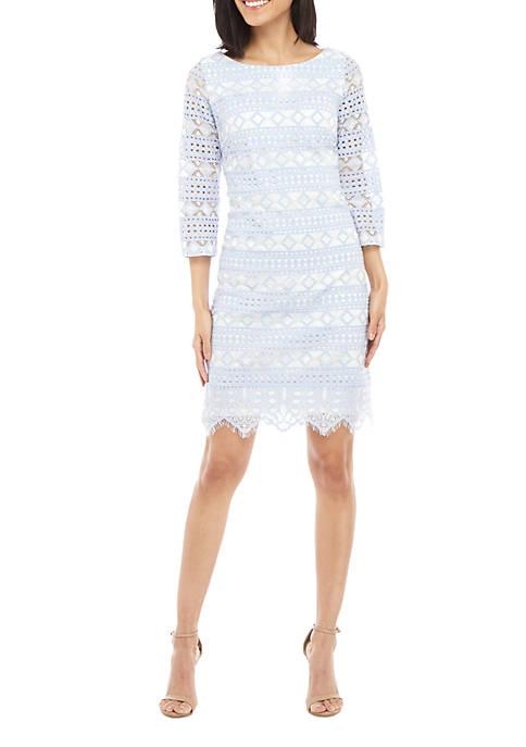 Jessica Howard 3/4 Sleeve 2 Tone Lace Shift