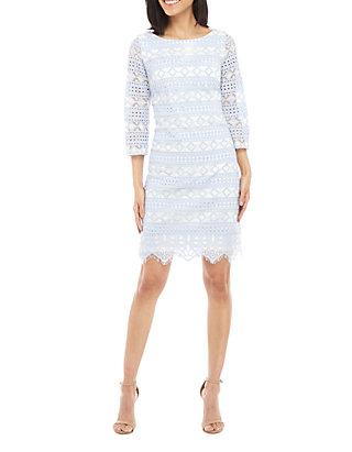 02a124609388 Jessica Howard. Jessica Howard 3/4 Sleeve 2 Tone Lace Shift Dress
