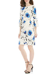 Jessica Howard Bell Sleeve Ruched Side Printed Dress