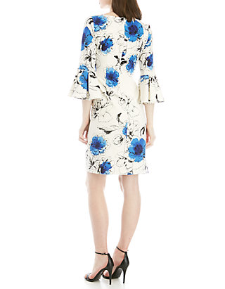 1b1bd5106799 Jessica Howard Bell Sleeve Ruched Side Printed Dress | belk