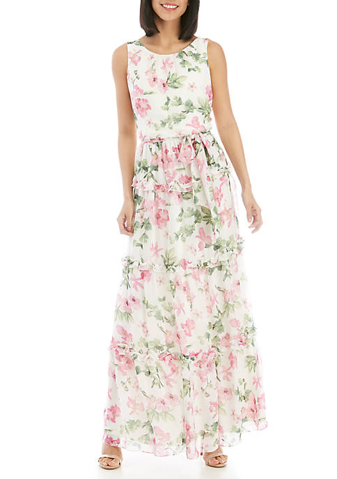 Jessica Howard Sleeveless Tiered Self Tie Maxi Dress