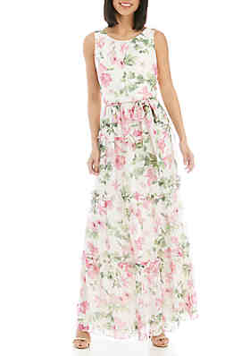 61c78eb7e93c32 Jessica Howard Sleeveless Tiered Self Tie Maxi Dress ...