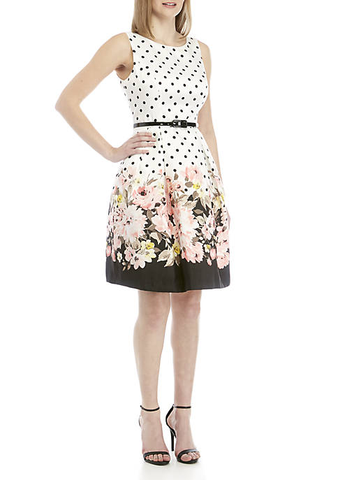 Jessica Howard Polka Dot and Floral Dress