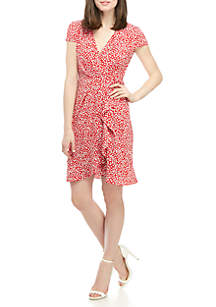 Jessica Howard Short Sleeve Floral Faux Wrap Dress