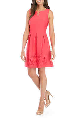 3442155e05 Jessica Howard Sleeveless Textured Laser Cut Fit And Flare Dress ...