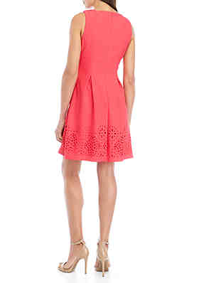 df55b990c7d2b ... Jessica Howard Sleeveless Textured Laser Cut Fit And Flare Dress