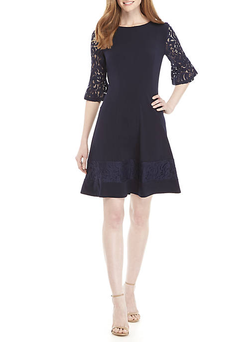 Womens 3/4 Lace Sleeve Fit and Flare Dress