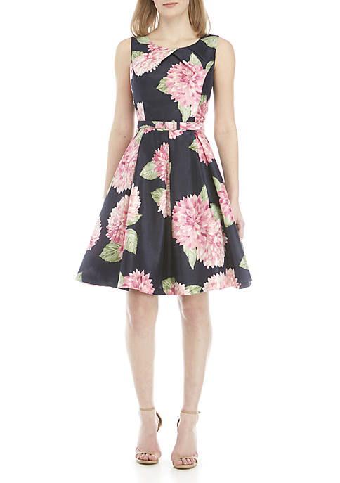Jessica Howard Sleeveless Printed Shantung Fit and Flare